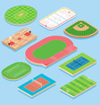 sport field flat isometric icon set vector image vector image