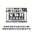stencil plate serif font and car service emblem vector image vector image