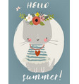 summer cute kitten vector image vector image
