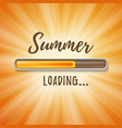 summer loading bar orange background with sun rays vector image