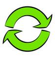 green circular arrows icon cartoon