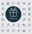 birthday outline thin flat digital icon set vector image
