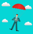 businessman with parachute in sky safety vector image vector image