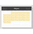 Calendar Template for 2017 Year February vector image