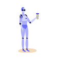 cartoon robot holding glass chemistry beaker with vector image vector image