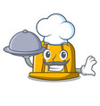 chef with food construction helmet mascot cartoon vector image vector image