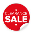 clearance sale label red sticker vector image vector image
