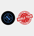 compass icon and grunge world tour seal vector image vector image