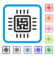 cpu circuit framed icon vector image