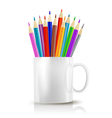 cup with color pencils vector image vector image