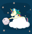cute unicorn fantasy cartoon vector image vector image