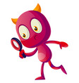 devil with magnifying glass on white background vector image vector image