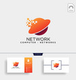 digital globe network logo template icon element vector image