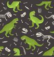 dinosaur skeleton seamless grunge pattern vector image