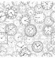doodle clock seamless background vector image vector image