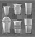 empty transparent plastic disposable cups vector image