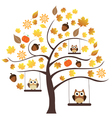 fall owls vector image vector image