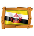 flag of brunei in wooden frame vector image vector image