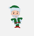 green santa claus with an expression of vector image vector image