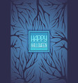 halloween background with tree branches dark blue vector image vector image