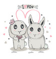 hand drawn cute rabbits with heart and vector image
