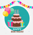 happy birthday card party background with cake vector image vector image