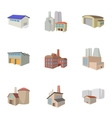 Industrial complex icons set cartoon style vector image vector image