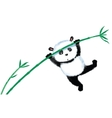 Jumping Panda on bamboo vector image