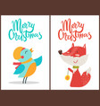 merry christmas bird and fox vector image vector image