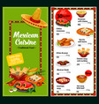 mexican national restaurant menu dishes vector image vector image