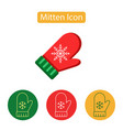 mitten outline icon vector image vector image