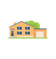modern american wood house with white garage and vector image vector image
