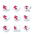 nepal flags icons and button set nine styles vector image vector image