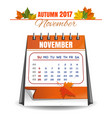 november 2017 quarterly calendar vector image vector image