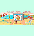 online order pizza on beach family on beach vector image