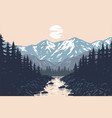 panorama mountains evergreen trees landscape vector image