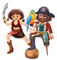 pirate and his crew with weapon vector image