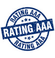 rating aaa blue round grunge stamp vector image vector image