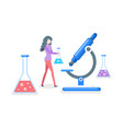 researches conducted by woman scientist isolated vector image vector image
