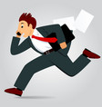 running businessman with bag and talking by phone vector image