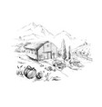 rural landscape with lorry and farm mountai vector image