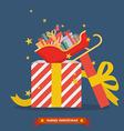 santa sleigh out big gift box vector image vector image