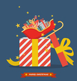 Santa sleigh out of big gift box vector image vector image