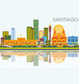 santiago chile skyline with color buildings blue vector image vector image