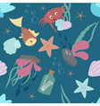 seamless pattern with underwater cute animals vector image