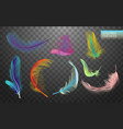 set of isolated falling colored fluffy twirled vector image vector image