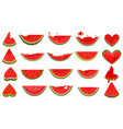 set pieces watermelon collection slices vector image