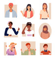 set portraits in flat design positive young vector image