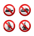 set prohibited signs - water sports vector image vector image