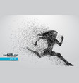 silhouette a running woman from particles vector image